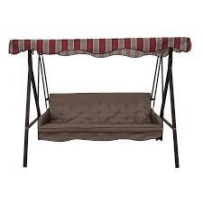 garden treasures 3 seat cushioned porch swing 198 00