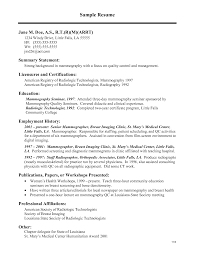 ... Resume Example, Radiologic Technology Resume Objective Medical Technologist  Resume Sample Radiography Cover Letter: College ...