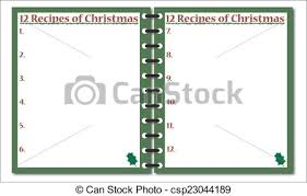 Notepad Template A 12 Recipes Of Christmas Notepad Template Or Background Isolated On