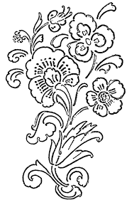 glass painting patterns flower design with long curves slanting