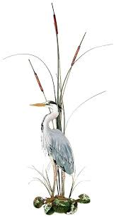 heron wall art large great blue heron with cattails facing left wall art by heron outdoor heron wall art