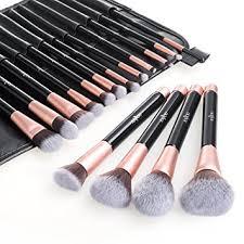 amazon makeup brushes. anjou makeup brush set, 16pcs premium cosmetic brushes for foundation blending blush concealer eye shadow amazon r