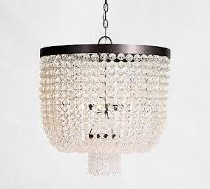 pottery barn mila beaded crystal pendant chandelier new in box authentic