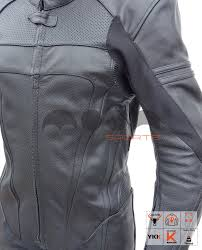 1 pc perforated full black motorcycle leather suit for men mns 01