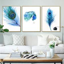 Peacock Living Room Decor Online Get Cheap Peacock Feather Painting Aliexpresscom