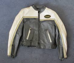 las triumph retro leather motorbike jacket size m