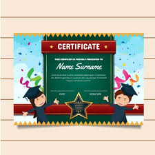 Children Certificate Template Cute Graduation Theme Children Certificate Of Achievement And