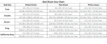 Sheet Sizes King Bed Bed Sheet Sizes Chart Nice King Size