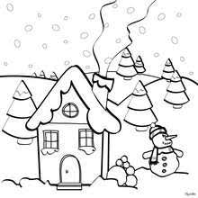 christmas house coloring pages. Simple Christmas Snowcovered House Christmas Coloring Page  Coloring HOLIDAY  Pages CHRISTMAS For House Pages