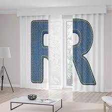 Retro Kitchen Design Pictures Unique Amazon IPrint Letter R Blackout CurtainsRetro Denim Style