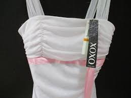 Xoxo White Sheer Flowing Hemline Pink Sash Short Cocktail Dress Size 4 S