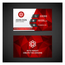 Online Busines Card Red Polygonal Business Card Vc128 Free Business Card