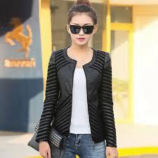 spring women tops women leather jacket