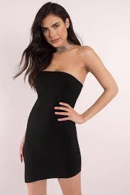 Little Black Dresses Black Side To Side Strapless Bodycon Dress