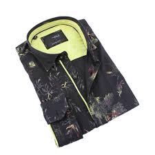 Black Designer Dress Shirt Black And Lime Floral Print Shirt
