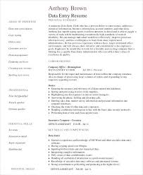 Sample Data Entry Resume Sample Resume For Data Entry Operator Data