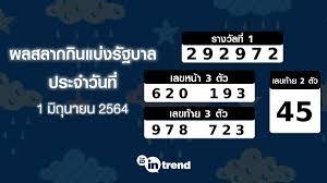 ตรวจหวย 1 มิถุนายน 2564, สลากกินแบ่งรัฐบาล 1 มิถุนายน 2564 ผลการออก. Duaswng Ixu08m