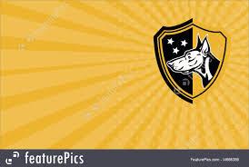 Business Card Doberman Guard Dog Stars Shield Illustration