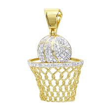 mens diamond jewelry solid 10k gold real diamond basketball pendant 0 8ct ye