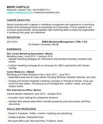 Objective In Resume For Fresh Graduate Gentileforda Com