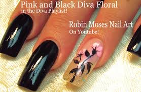 Easy Long Nails Tutorial - DIY Black With Pink Flower Nail Art ...