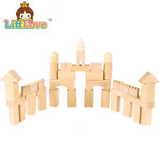 Wooden Bricks Game 100 New Natural Wooden Bucket Building Bricks Assemblage Castle 100