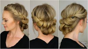 French Braid Updo Hairstyles Tuck And Cover French Braid Half With A Bun Youtube