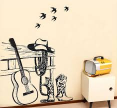 Small Picture Still life Painting Western Cowboy and Guitar Wall sticker