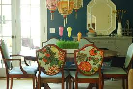 Colored Dining Room Sets Art Wall Newly Painted Dining Room And Upholstered Shield Back Chairs