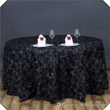 3d satin rosette table cloths black color encryption rose banquet table cover tablecloths 108inch round spread vinyl tablecloth linentablecloth from