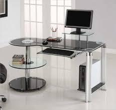 curved office desk. Office Desk Black Glass Study Desks Uk Smoked Curved Computer Full Size Of Deskblack Long
