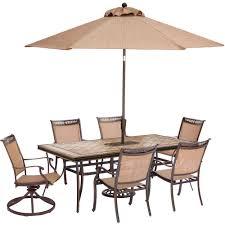 hanover fontana 7 piece aluminum rectangular outdoor dining set with tile top table