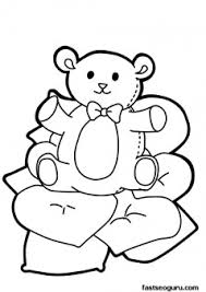 Small Picture Printable Valentines Day cute teddy bear with heart coloring pages