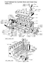 ford flathead six parts drawings for the six cylinder engine built 1948 to 51 six cylinder block head assy