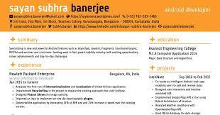 Visual Resume Of Sayan Subhra Banerjee Android Developer Format