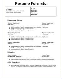 Types Of Resume Formats Principal Pictures Format Sample Different