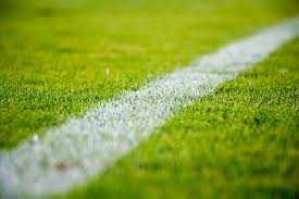 green grass soccer field. Close-up Of A White Line On Green Grass In Soccer Field E