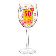 hallmark 50th birthday wine glass