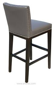 artefac pembley leather stool with nailhead trim gray counter height
