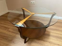 mid century italian round ik wood and