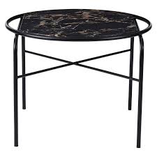 warm nordic secant coffee table round black gold marble