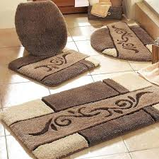 contemporary bathroom with brown bathroom rug sets and beige ceramic cute