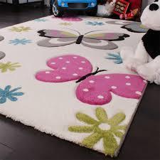 Amazon.de: Kinder Teppich Schmetterling Design Pink Grün Blau Grau ...