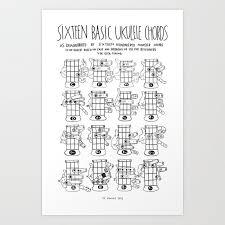 Ukulele Boogaloo Chord Chart K W Ink Ukulele Chords Chart 16 Basic Ukulele Chords Art Print By Kwink