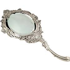 ornate hand mirror drawing. Antique Victorian Sterling Silver Hand Mirror - 1899 Serenading . Ornate Drawing