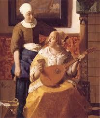 jan vermeer the love letter detail