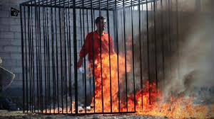 Image result for Images of burning to death of Jordanian pilot