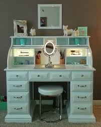 roll top desk makeover by chelsea lloyd vanity makeup station upcycling diy