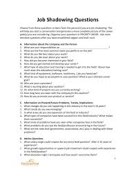 Job Shadowing Questionnaire Job Shadowing Job Interview