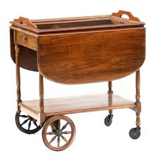 wooden tea cart vintage with glass tray top wood toy childs trolley